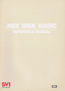 MSX DISK BASIC. Reference Manual